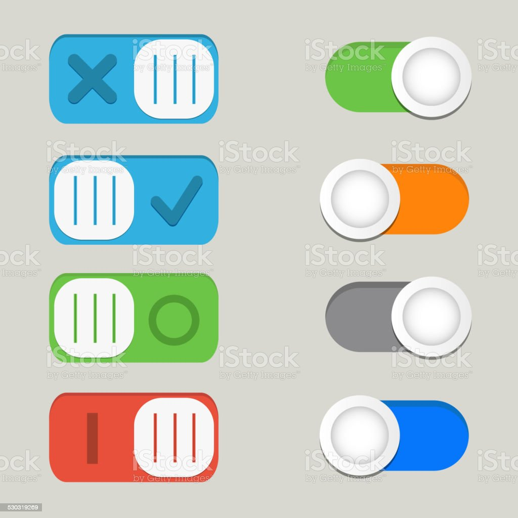 Toggle switch icons vector, on off icons vector art illustration