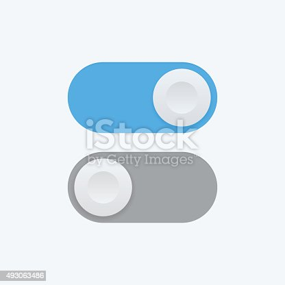 Toggle switch vector icon, On and Off position icons, flat design style user interface