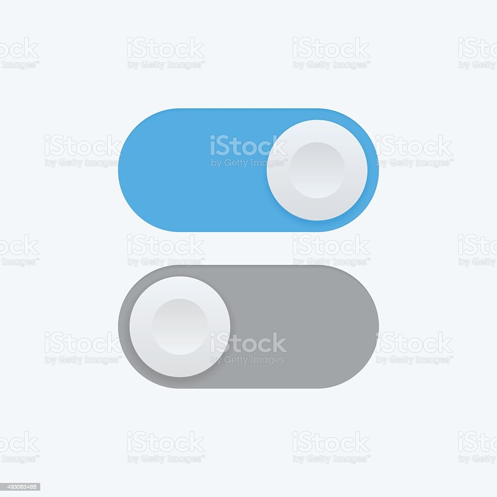 Toggle switch vector icon, On and Off position icons vector art illustration