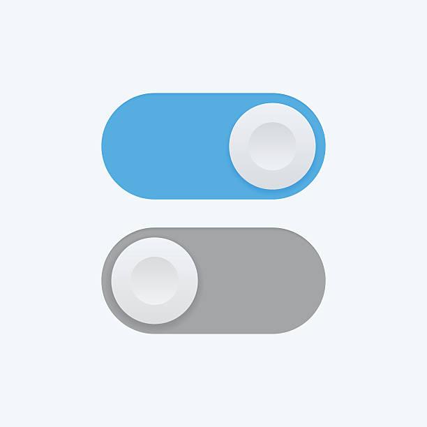 ilustraciones, imágenes clip art, dibujos animados e iconos de stock de interruptor de palanca vector icono, dentro y fuera de la posición de los iconos - interruptor