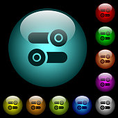istock Toggle switches icons in color illuminated glass buttons 1082799582