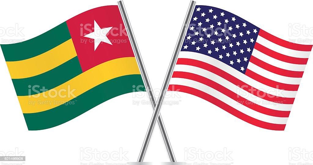 Togo and American flags. Vector. Lizenzfreies togo and american flags vector stock vektor art und mehr bilder von amerikanische flagge