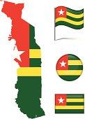 Togo map & flag