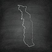 Togo Map on Blackboard - Chalkboard