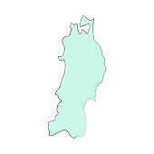 Map of Tohoku sketched and isolated on a blank background. The map is blue green with a black outline. Vector Illustration (EPS10, well layered and grouped). Easy to edit, manipulate, resize or colorize.