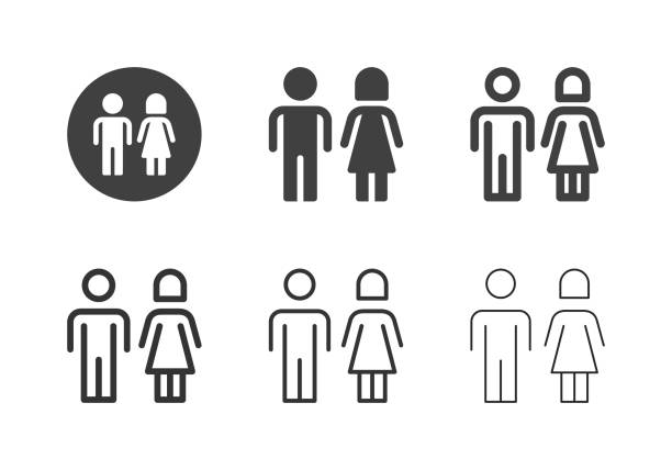 toiler sign icons - multi series - old man sex clip art stock illustrations, clip art, cartoons, & icons