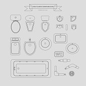 Toilet and Bath Outline Furniture Icon, Top View for Interior Plan, vector