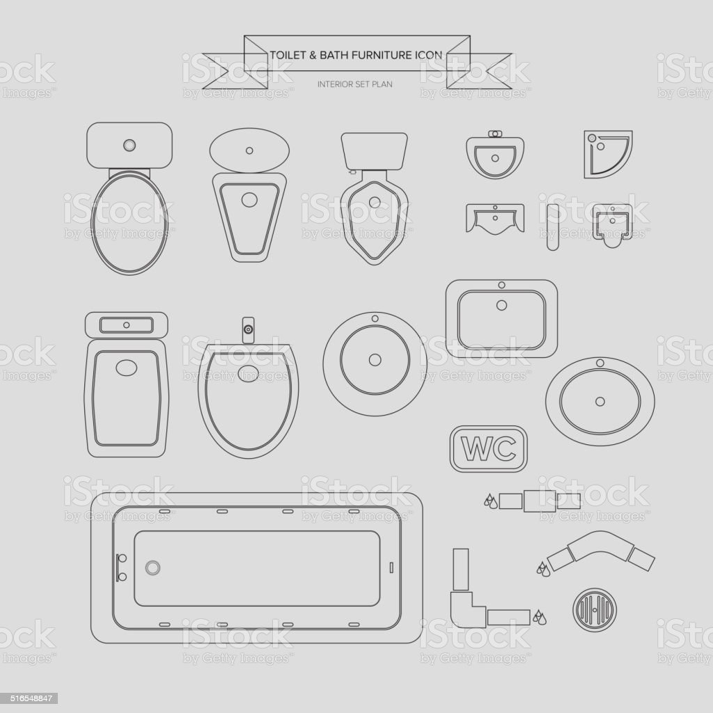 Toilet and Bath Outline Furniture Icon vector art illustration