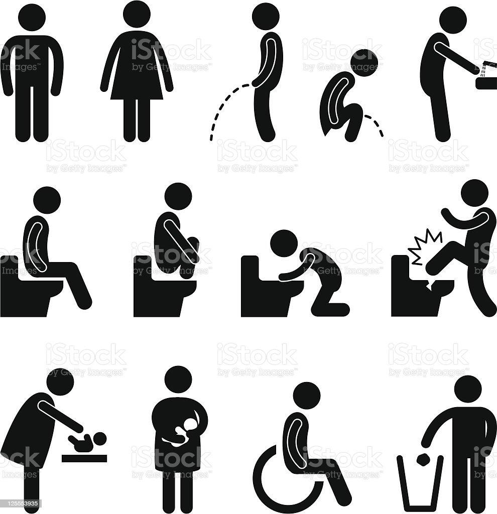 sanitario baño embarazada icono de signo público para personas con