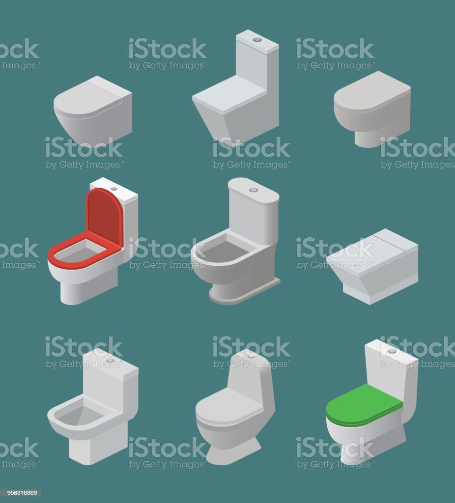 WC Schüssel Und Sitz Vektor Isometrische Symbole Toilettenartikel Flush Und  Bad Keramik Ausrüstung Oder Sanitär