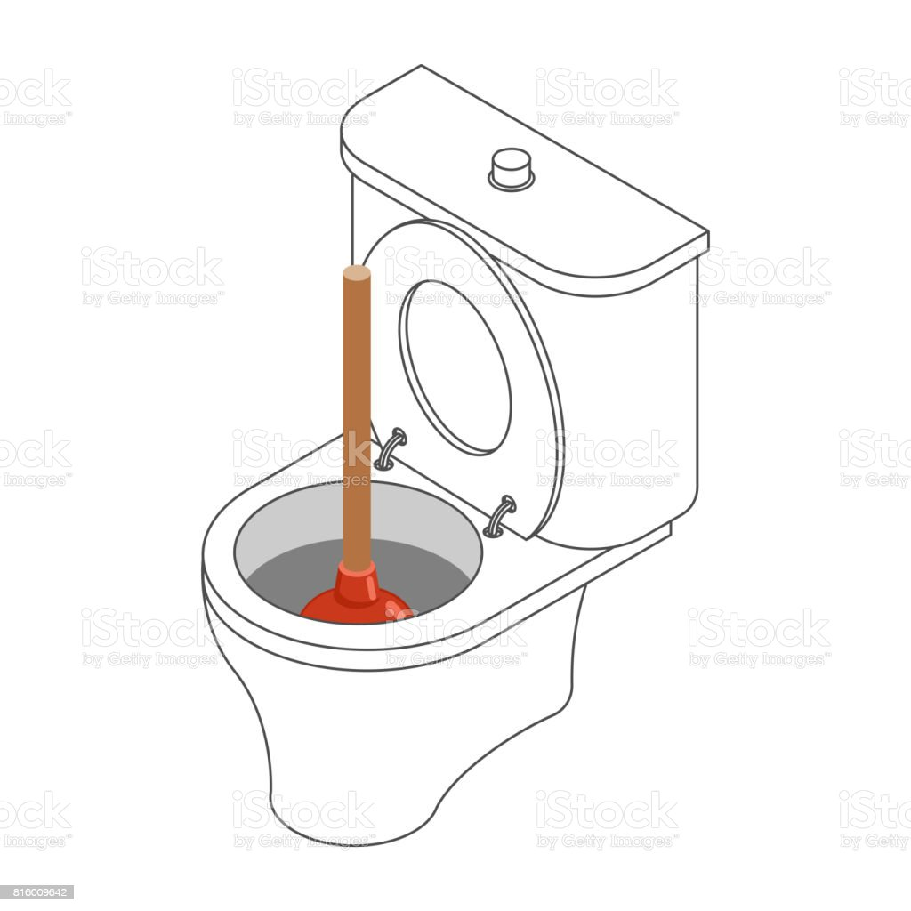 Wc Schüssel Und Absaugung Cup Isometrische Toilette Stock Vektor ...