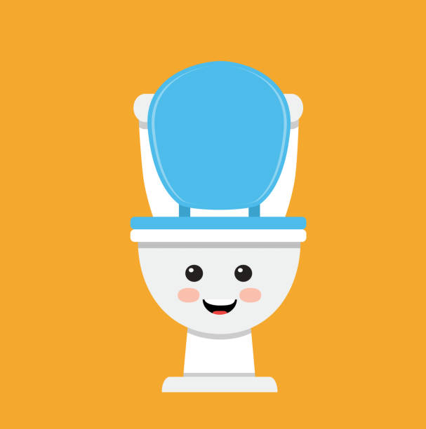 Toilet bowl cute face Cute toilet bowl smiling on orange background flushing toilet stock illustrations