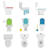Toilet bowl icons set. Flat illustration of 9 toilet bowl vector icons isolated on white