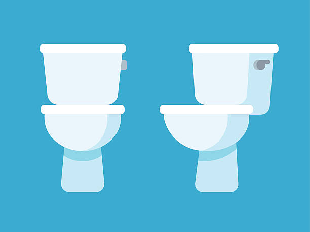 toilet bowl illustration Toilet bowl flat cartoon icon, front and side view. flushing water stock illustrations