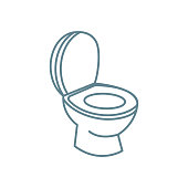 Toilet bowl line icon, vector illustration. Toilet bowl linear concept sign.