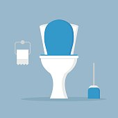 White ceramics toilet bowl, seat with toilet paper roll and brush isolated on blue background. Flat style design illustration. Modern toilet set.