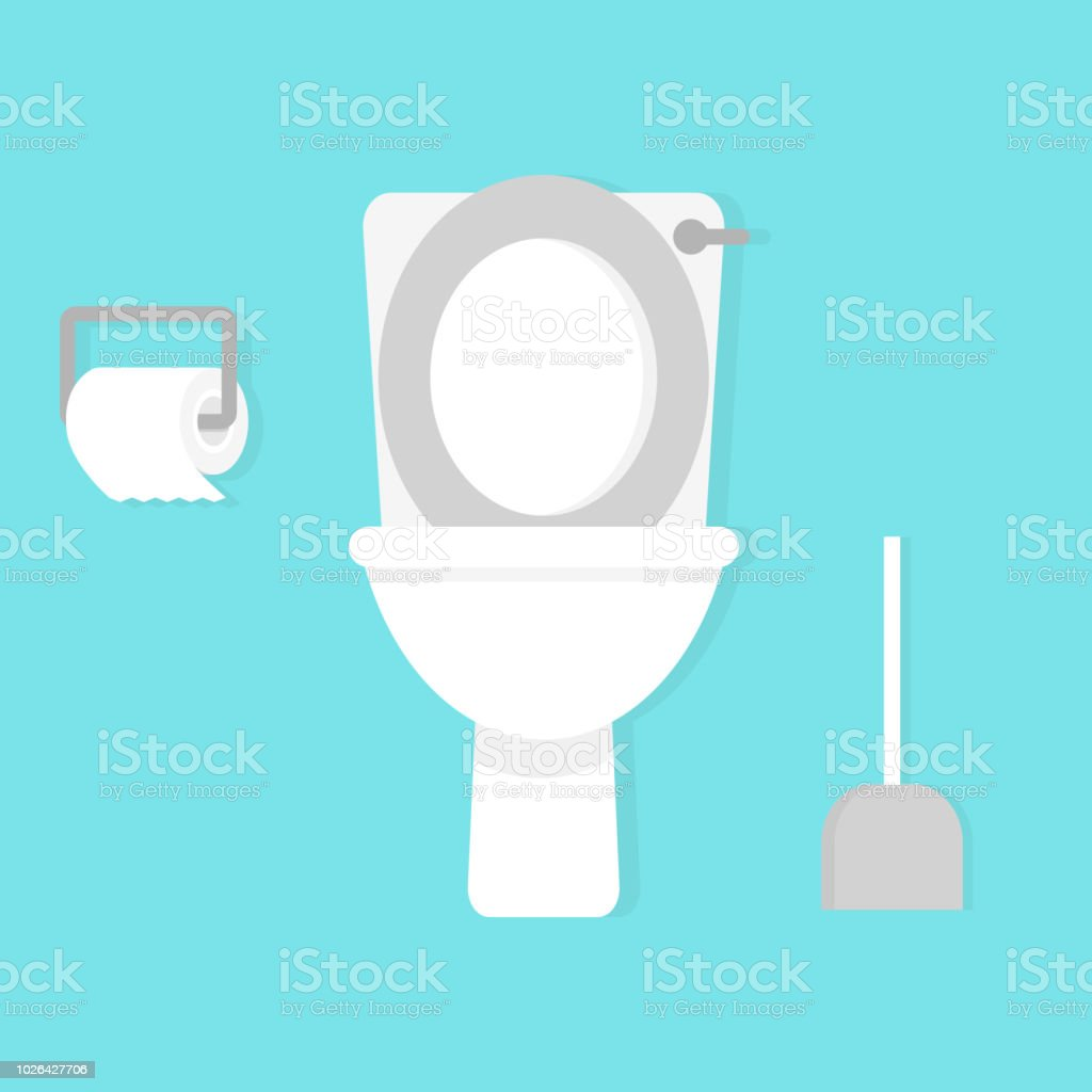 Toilet Bowl With Toilet Paper Roll Simple Flat Cartoon Vector ...