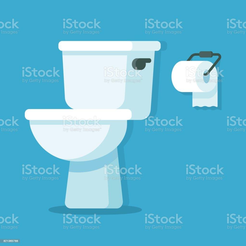 WC-Schüssel mit WC-Papier – Vektorgrafik