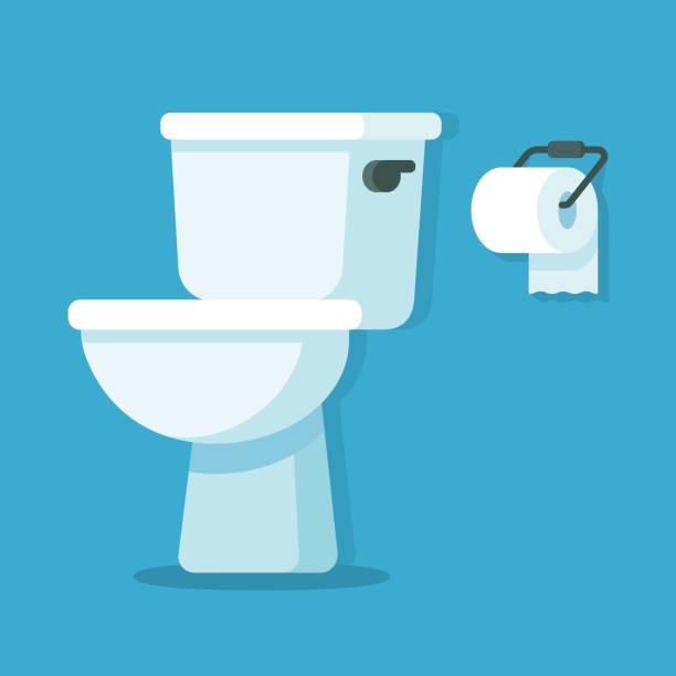 Toilet bowl with toilet paper Toilet bowl with toilet paper roll. Simple flat cartoon vector illustration. flushing toilet stock illustrations