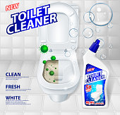 Toilet cleaner banner ads, effect of cleaner before and after. Green virus escaping from shining toilet bowl. Detergent toilet gel in bottle mockup. 3d Vector illustration EPS 10
