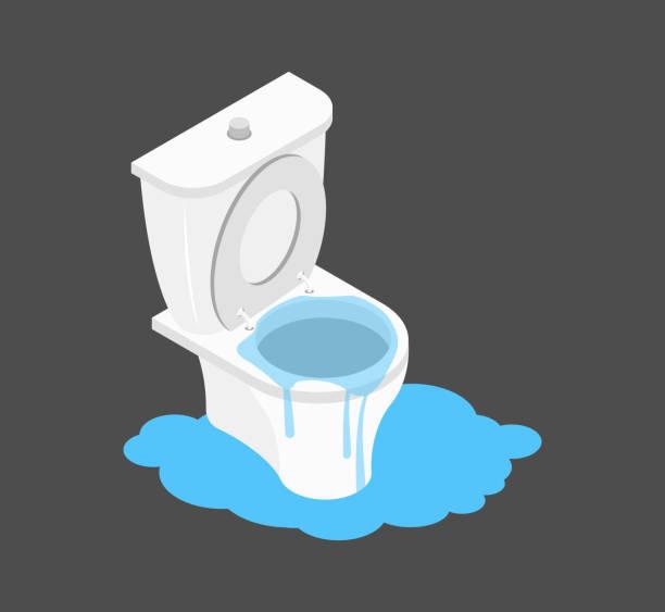Toilet clogged Isometry. Leakage canalization. Litter in WC Toilet clogged Isometry. Leakage canalization. Litter in WC bathroom clipart stock illustrations