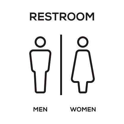 WC / Toilet Door Plate. Men and Women Sign for Restroom.