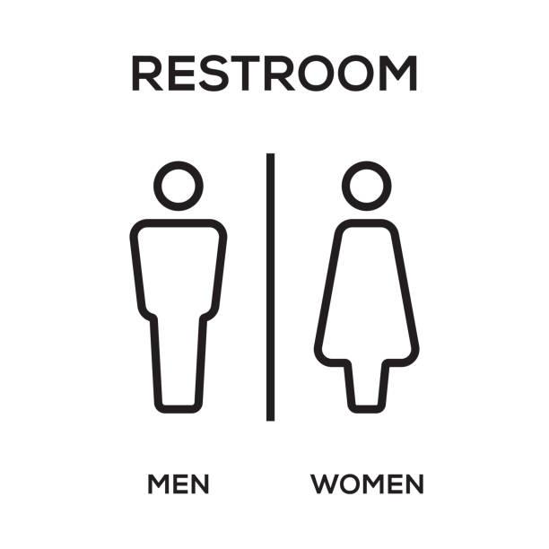 WC / Toilet Door Plate. Men and Women Sign for Restroom. WC / Toilet Door Plate. Men and Women Sign for Restroom. bathroom icons stock illustrations