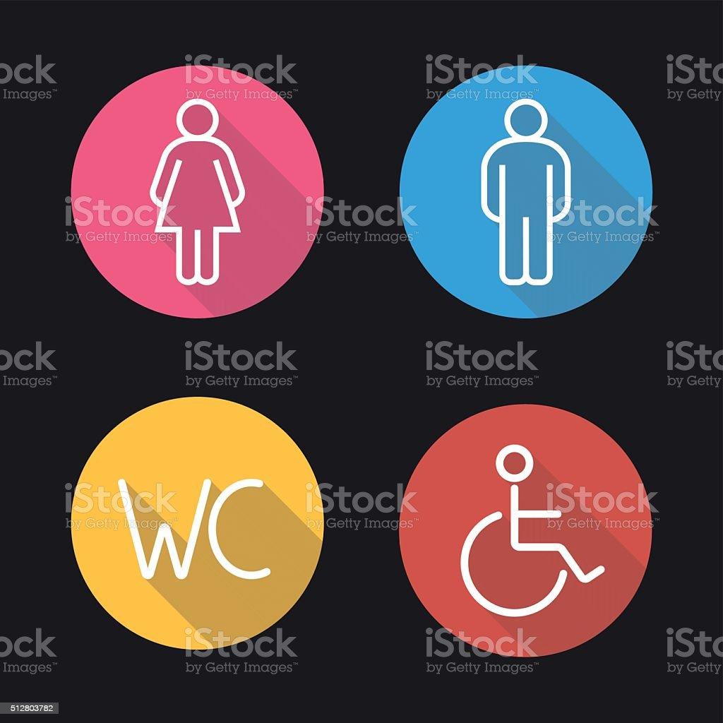 WC toilet door signs icons vector art illustration