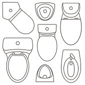 Toilet equipment top view collection for interior design.Vector contour illustration. Set of different toilet sinks types.