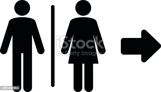 Toilet flat icon and arrow. PDF file included.