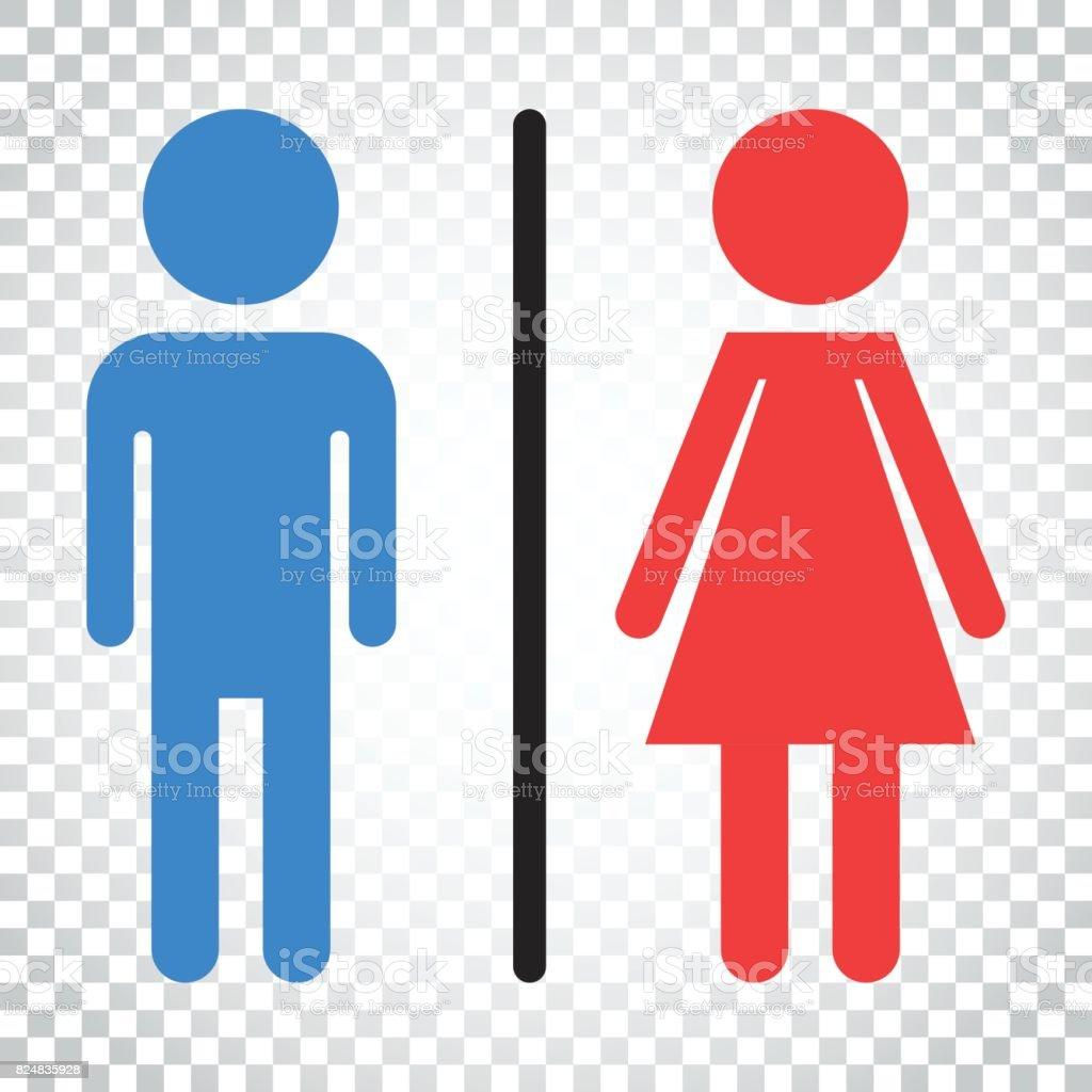 WC Flach Vektor Icon Manner Und Frauen Melden Fur Toilette Auf Isolierte Hintergrund