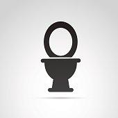 Toilet icon isolated on white background.