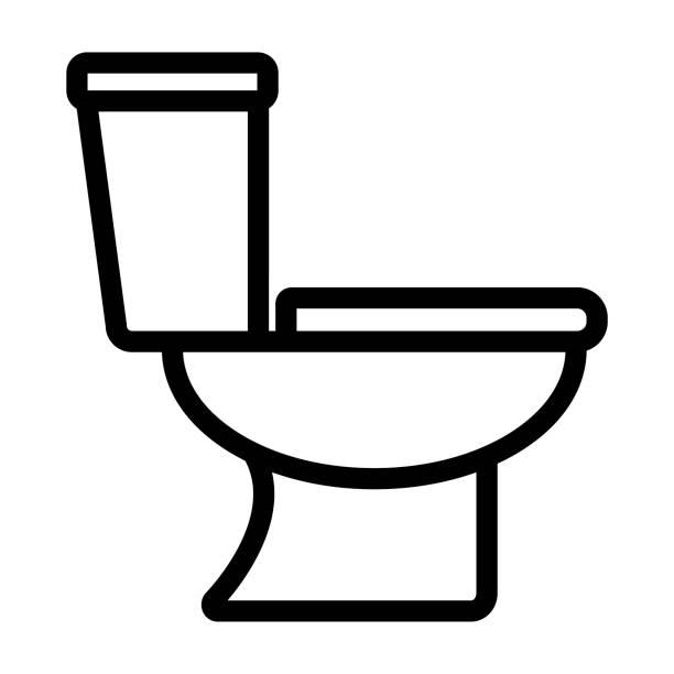 toilet icon on white background Illustration of toilet icon on white background bathroom icons stock illustrations