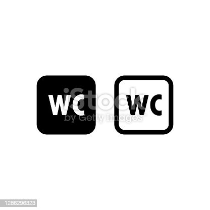 istock Toilet icon or logo WC symbols. Toilet sign Bathroom Male and female icon. Vector EPS 10. Isolated on white background 1286296323