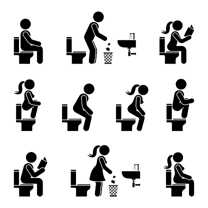 Toilet icon stick figure man and woman symbol silhouette pictogram vector illustration set. Sitting, peeing, reading, throwing paper to trash bin signs on white background