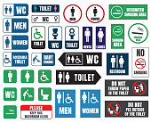 toilet vector signs set, restroom wc stickers