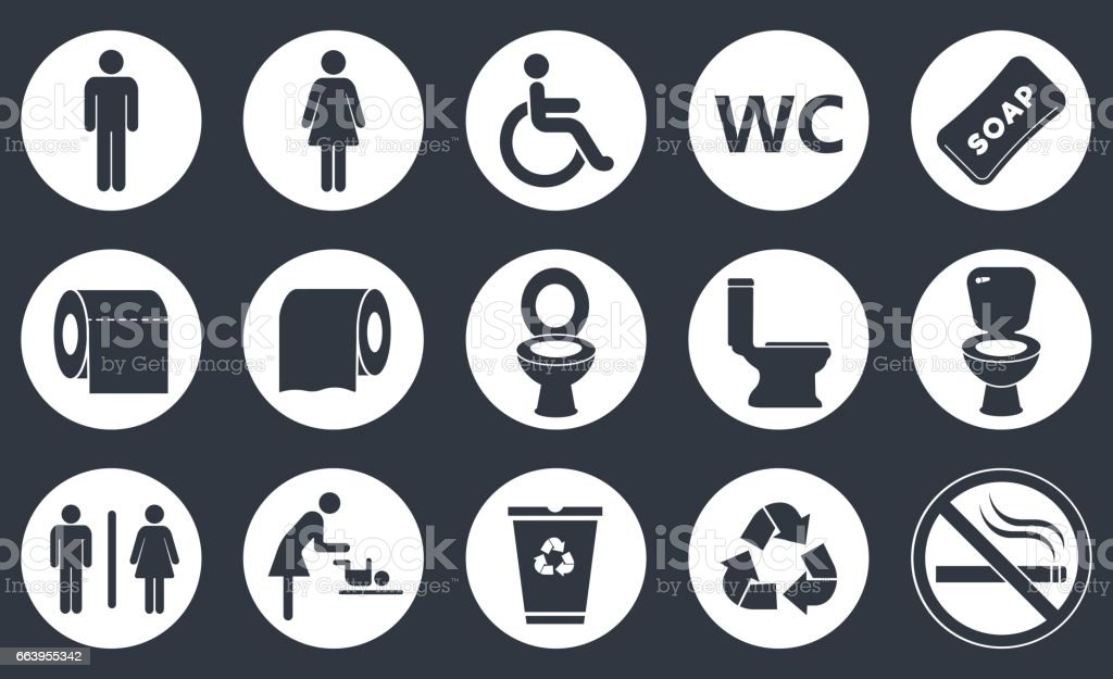 toilet icons set vector art illustration