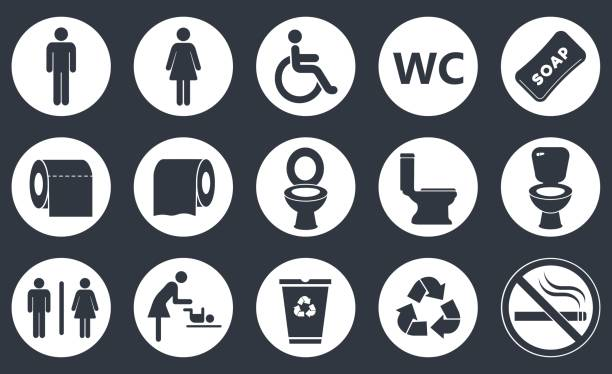 toilet icons set toilet vector icons set, boy or girl restroom wc airport silhouettes stock illustrations
