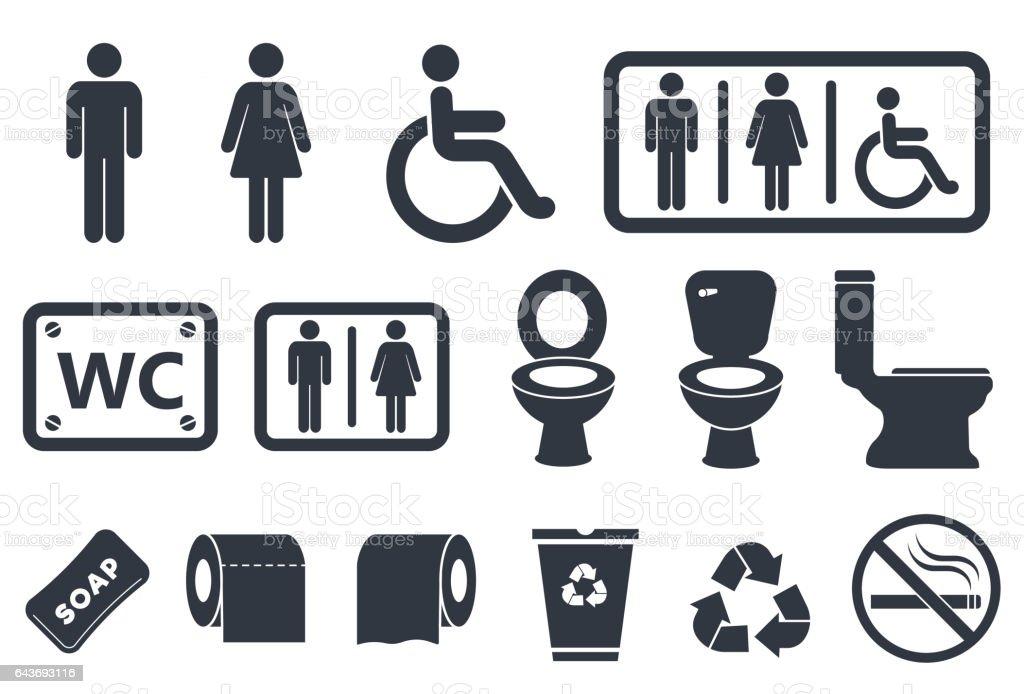 toilet icons vector art illustration