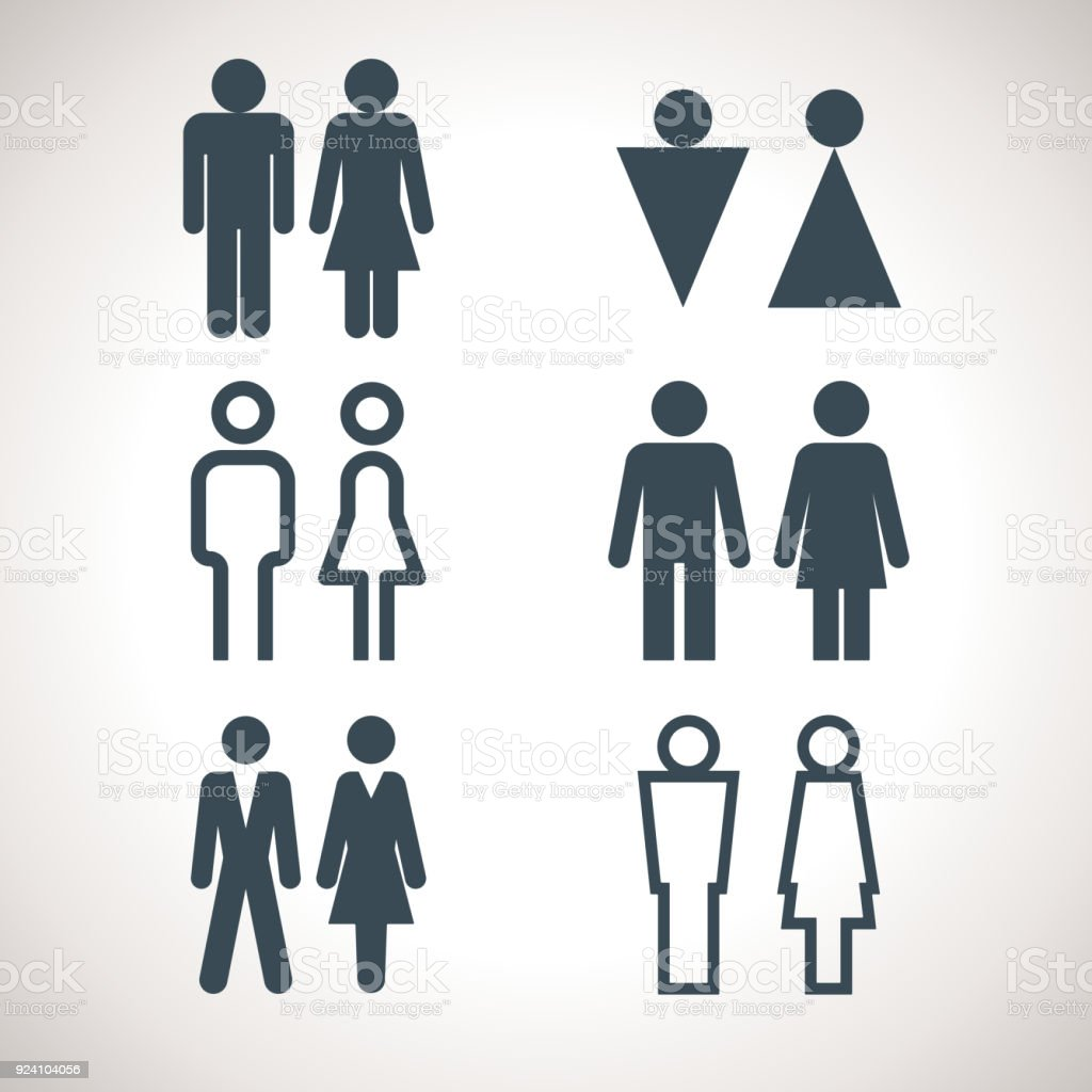restroom directional sign. Toilet Indicating Signs. Vector Men And Women WC Directional Sign. Variety Of Restroom Icons Sign I