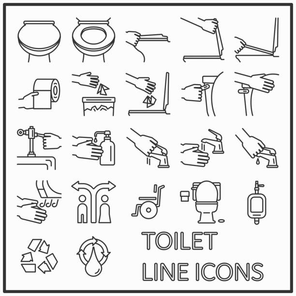 Toilet line icons graphic design for pattern and media decorations, WC, Lavatory, Restroom line icons. Toilet line icons graphic design for pattern and media decorations, WC, Lavatory, Restroom line icons. flushing toilet stock illustrations