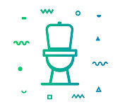 Toilet outline style icon design with decorations and gradient color. Line vector icon illustration for modern infographics, mobile designs and web banners.