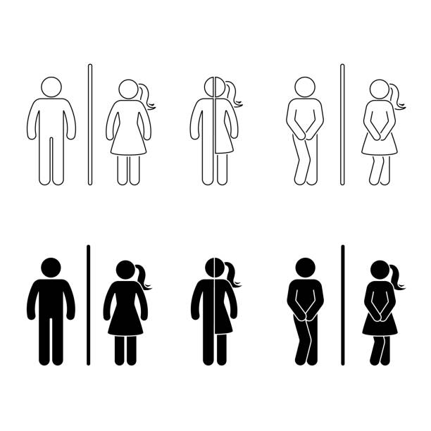 toilet male and female icon. stick figure vector funny wc, restroom set on white - контурный рисунок stock illustrations