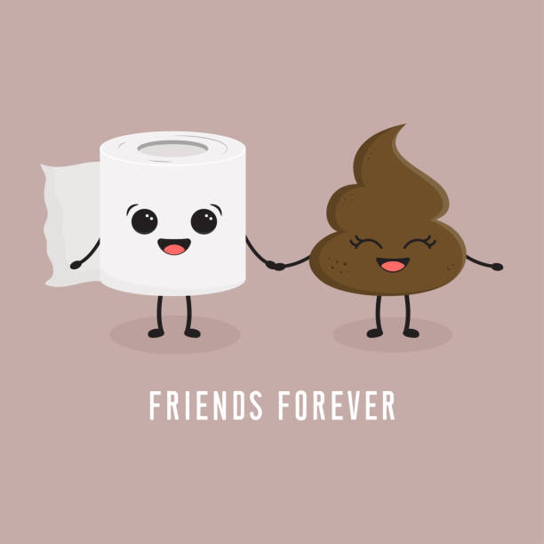 toilet paper and poop seamless illustration with toilet paper and poop cartoon emoji characters best friends feces stock illustrations