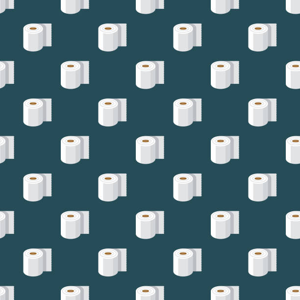toilet paper april fools' day seamless pattern - papier toaletowy stock illustrations
