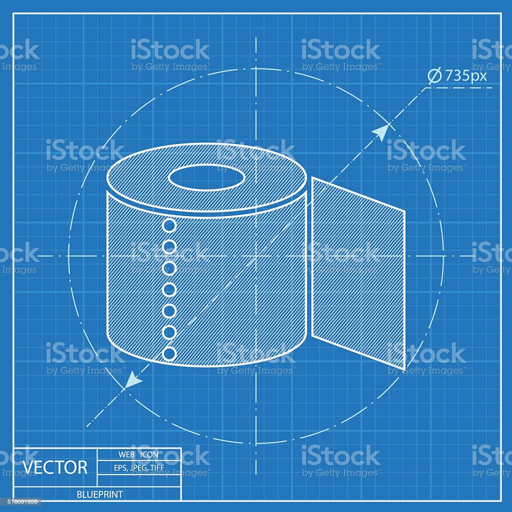 Toilet paper blueprint icon stock vector art more images of toilet paper blueprint icon royalty free toilet paper blueprint icon stock vector art amp malvernweather Images