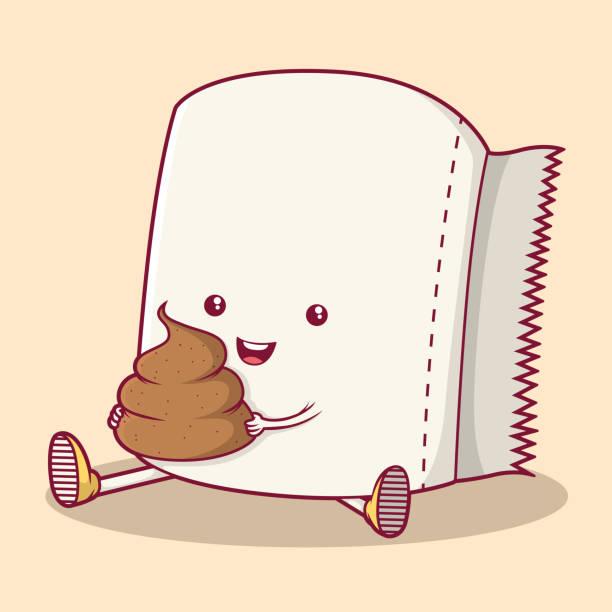 stockillustraties, clipart, cartoons en iconen met toilet papier karakter houden kak vector illustratie. - cell phone toilet