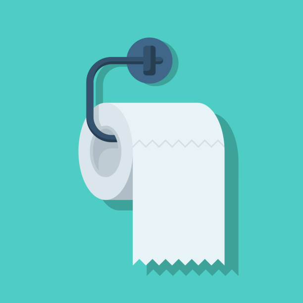 toilet paper flat icon - papier toaletowy stock illustrations