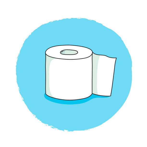 illustrazioni stock, clip art, cartoni animati e icone di tendenza di toilet paper hand drawn, doodle and vector illustration icons - carta igienica