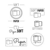 Toilet paper icon, emblems, labels. Set of logos